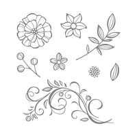 Falling Flowers Wood-Mount Stamp Set