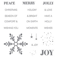 Holly Jolly Greetings Wood-Mount Stamp Set