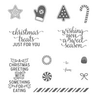 Candy Cane Christmas Wood-Mount Stamp Set