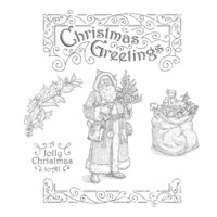 Father Christmas Wood-Mount Stamp Set