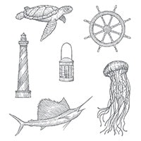 From Land To Sea Wood-Mount Stamp Set