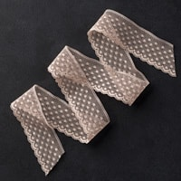 """Tip Top Taupe 1"""" Dotted Lace Trim"""