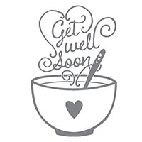 Get Well Soup Wood-Mount Stamp Set