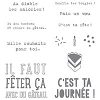Faut Fêter Ça Clear-Mount Stamp Set (French)