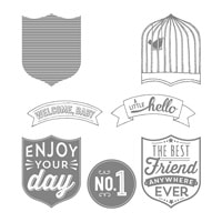 Badges & Banners Wood-Mount Stamp Set
