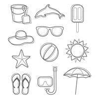 Day At The Beach Wood-Mount Stamp Set