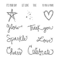 Love Sparkles Wood-Mount Stamp Set