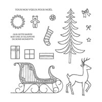 Traîneau De Noël Photopolymer Stamp Set (French)