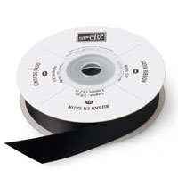 "Basic Black 5/8"" Satin Ribbon"""