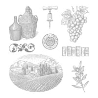 Tuscan Vineyard Wood-Mount Stamp Set