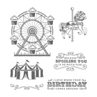 Carousel Birthday Wood-Mount Stamp Set