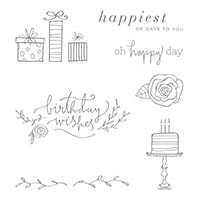 Happiest Of Days Wood-Mount Stamp Set