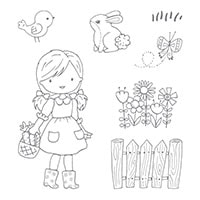 Garden Girl Wood-Mount Stamp Set