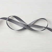 "Basic Gray 3/8"" Stitched Satin Ribbon"