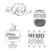 Festive Phrases Wood-Mount Stamp Set