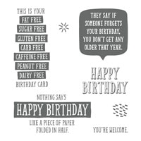 Birthday Wit Wood-Mount Stamp Set