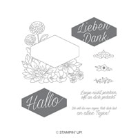 Blumiges Etikett Clear-Mount Stamp Set (German)