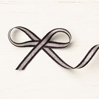 "Black/Silver 1/4"" (6.4 Mm) Striped Metallic Ribbon"