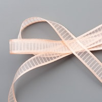 "Petal Pink 5/8"" (1.6 Cm) Organdy Striped Ribbon"