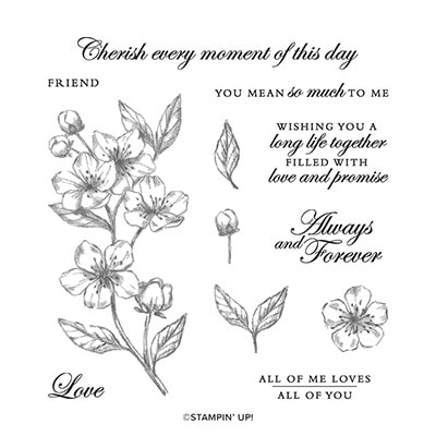 Forever Blossoms Cling Stamp Set (English)