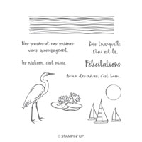 Lac Aux Nénuphars Lake Cling-Mount Stamp Set (French)