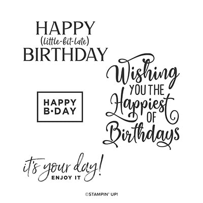 Happiest Of Birthdays Cling Stamp Set (English)