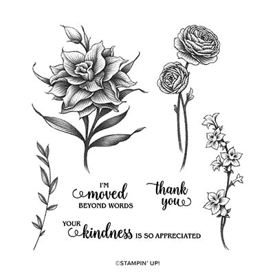 Flowering Blooms Cling Stamp Set (English)