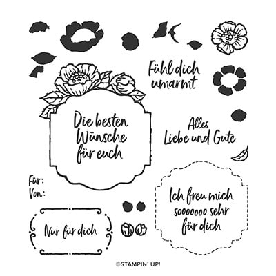 Florale Etiketten Photopolymer Stamp Set (German)