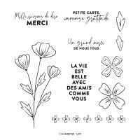 Mille Mercis Fleuris Cling Stamp Set (French)