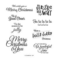 Holly Jolly Wishes Cling Stamp Set (English)