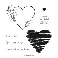 Strong Of Heart Cling Stamp Set (English)