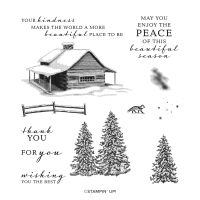 Peaceful Cabin Cling Stamp Set (English)