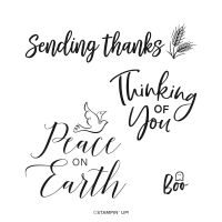 Thinking Thanks & Peace Cling Stamp Set (English)